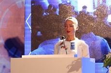 Robot citizen Sophia speaks at Industry 4.0 Summit & Exhibition