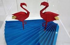 Origami art works on display in Hanoi