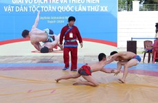 Junior traditional wrestling tournament ongoing in Hanoi