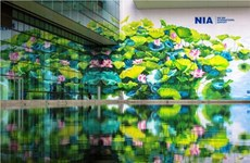 Painters create giant mural painting at Noi Bai int'l airport