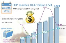 6-month FDI reaches 18.47 billion USD