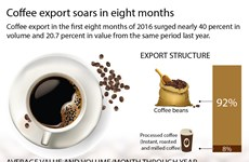 Coffee export soars in eights months