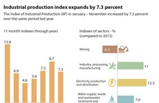 Industrial production index expands by 7.3 percent