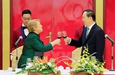 Chilean President Michelle Bachelet Jeria welcomed in Hanoi