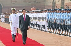 President Tran Dai Quang welcomed in New Delhi