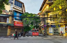 Hanoi deserted streets during social distancing