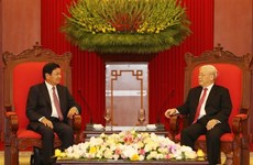 Top Vietnamese leaders meet Lao PM
