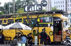 Bus coffee shop in Hanoi