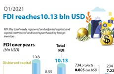 FDI reaches 10.13 bln USD in Q1