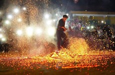 Amazing fire dancing festival of Pa Then ethnic people