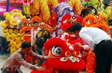 Vietnamese dragon dancers delights crowds with strength and passion