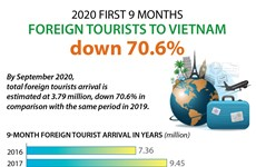 2020 first 9 months foreign tourists to Vietnam down 70.6%