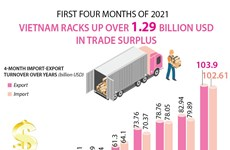 Vietnam racks up over 1.29 billion USD in trade surplus in four months