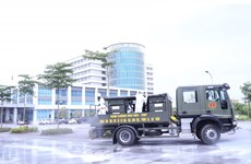 Army disinfect COVID-19 hit hospital in Hanoi