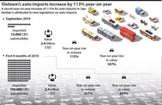 Vietnam's auto imports increase by 113% year-on-year