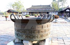 Nguyen-dynasty bronze cauldrons in Hue Imperial Citadel
