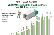 Vietnam sees record trade surplus of 20.1 billion USD