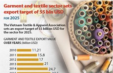 Garment and textile sector sets export target of 55 bln USD