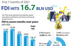 Vietnam attracts 16.7 billion USD in FDI in first seven months