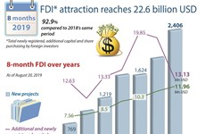 FDI in eight months reaches 22.6 billion USD
