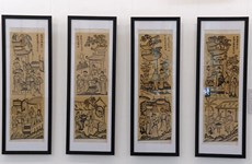 Traditional, contemporary Dong Ho paintings on display