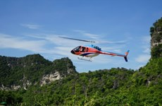 Helicopter tour allows tourists to see Ninh Binh from above