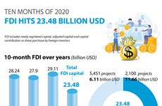 Vietnam attracts 23.48 billion USD in FDI in ten months
