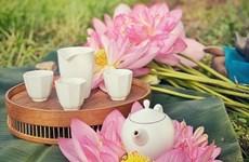 Enjoying lotus scented tea on summer days