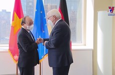 President meets German counterpart, concludes US trip