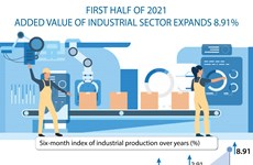Added value of industrial sector expands 8.91% in H1