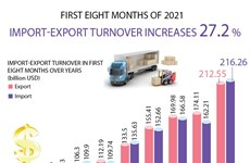 Vietnam's import-export turnover up 27.2 percent in eight months