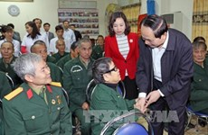 President visits wounded soldiers in Ninh Binh