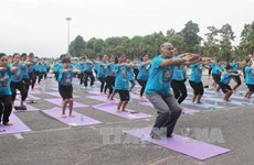 Mass yoga demonstration attracts crowds in Vinh Phuc