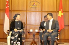 NA Chairwoman Nguyen Thi Kim Ngan hold talks with Singaporean counterpart