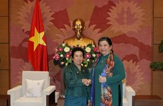 Legislative leader receives Lao NA ethnic committee's delegation