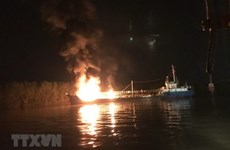 Firefighters stamp out tanker blaze in Hai Phong port city