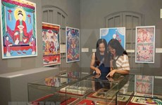 Vietnamese folk paintings displayed in Thang Long Citadel