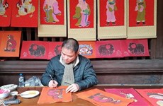 Folk painting genres displayed at Temple of Literature