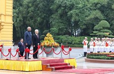 Party leader, President chairs welcome ceremony for Indian President