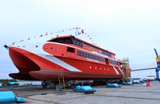 Vietnamese-built catamaran launched in Hai Phong city