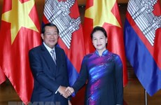 NA Chairwoman welcomes Cambodian PM in Hanoi