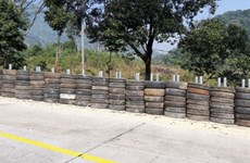 Rubber tyre wall installed along dangerous mountain pass