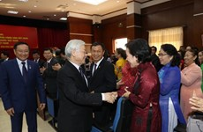 Top leader meets Vietnamese expatriates in Laos