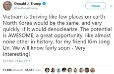 Trump highlights DPRK's growth potential with denuclearization