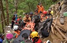 Indonesian rescuers use heavy excavators in Sulawesi mine collapse