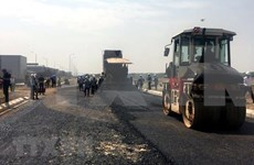 Vietnam's first recycled plastic-made road being built in Hai Phong