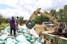 Ben Tre province repairs eroded riverbank section