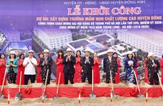 Construction of three infrastructure projects starts in Hanoi's outskirts district
