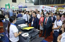 HCM City expo displaying advertising equipment, technology
