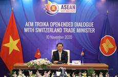 ASEAN economic ministers hold online troika dialogue with Switzerland